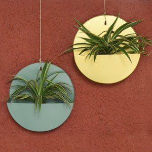 """Lunar"" Hanging Metal Mounted Wall Planter / Letter Box in 4 Colours 1 BHK Interiors"