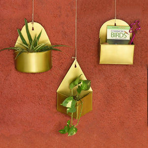 1 BHK Interiors Geometric Hanging Metal Mounted Wall Planter / Letter Box in Matte Gold Finish - 3 Shapes