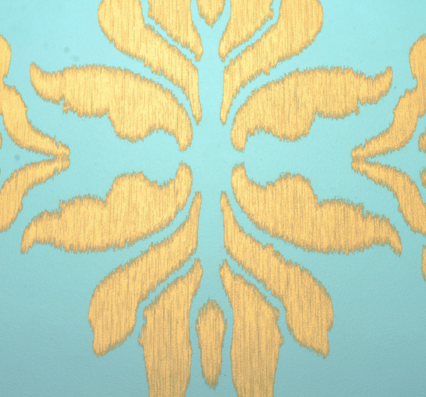 Ikat 1 Wall Hanging in Aqua - Ikat 1 Wall Hanging in Gold