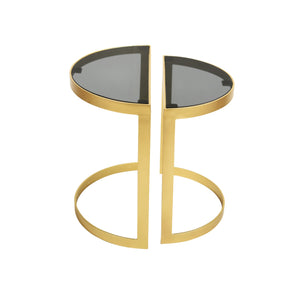 Set of 2 Deco Half Circle Nesting Tables in Metal with Black Glass Top
