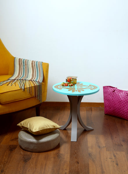 "1 BHK x Studio Kohl ""Ikat 1"" Mini Table / Wall Hanging in Aqua & Gold"