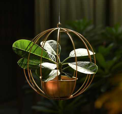 """Pumpkin"" Metal Candle Holder / Hanging Planter in Gold Finish (Optional Matching Bowl or Pot) 1 BHK Interiors"
