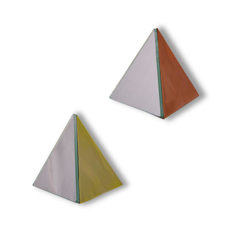 1 BHK Interiors Pyramid Table Mirror Ornament in Gold or Rose Gold Finish