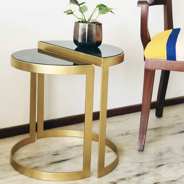 Set of 2 Deco Nesting Tables - Half Circle Nesting Tables - Metal with Black Glass Half Circle Tables