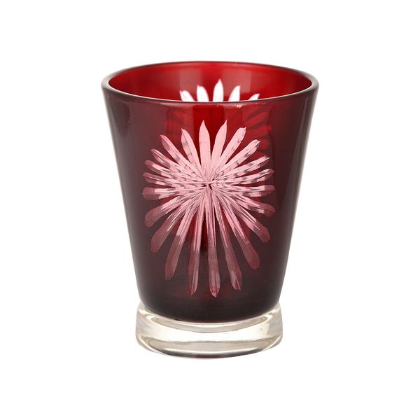 Red Fireworks Glass Tealight Candle Holder 1 BHK Interiors