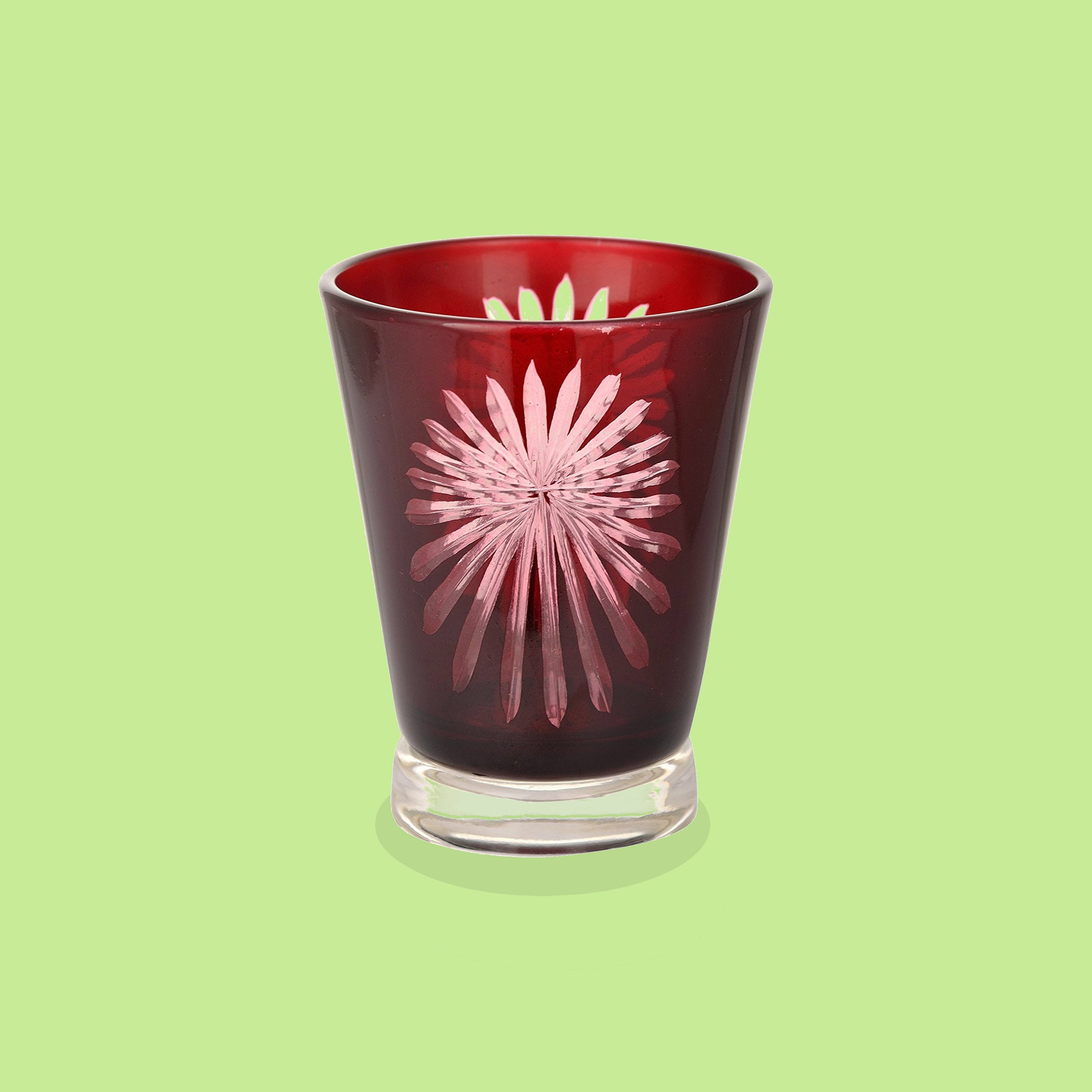 Red Fireworks Glass Tealight Candle Holder - Clearance