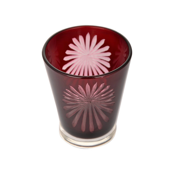 Red Fireworks Tealight Candle Holder - Tealight Candle Holder in Glass