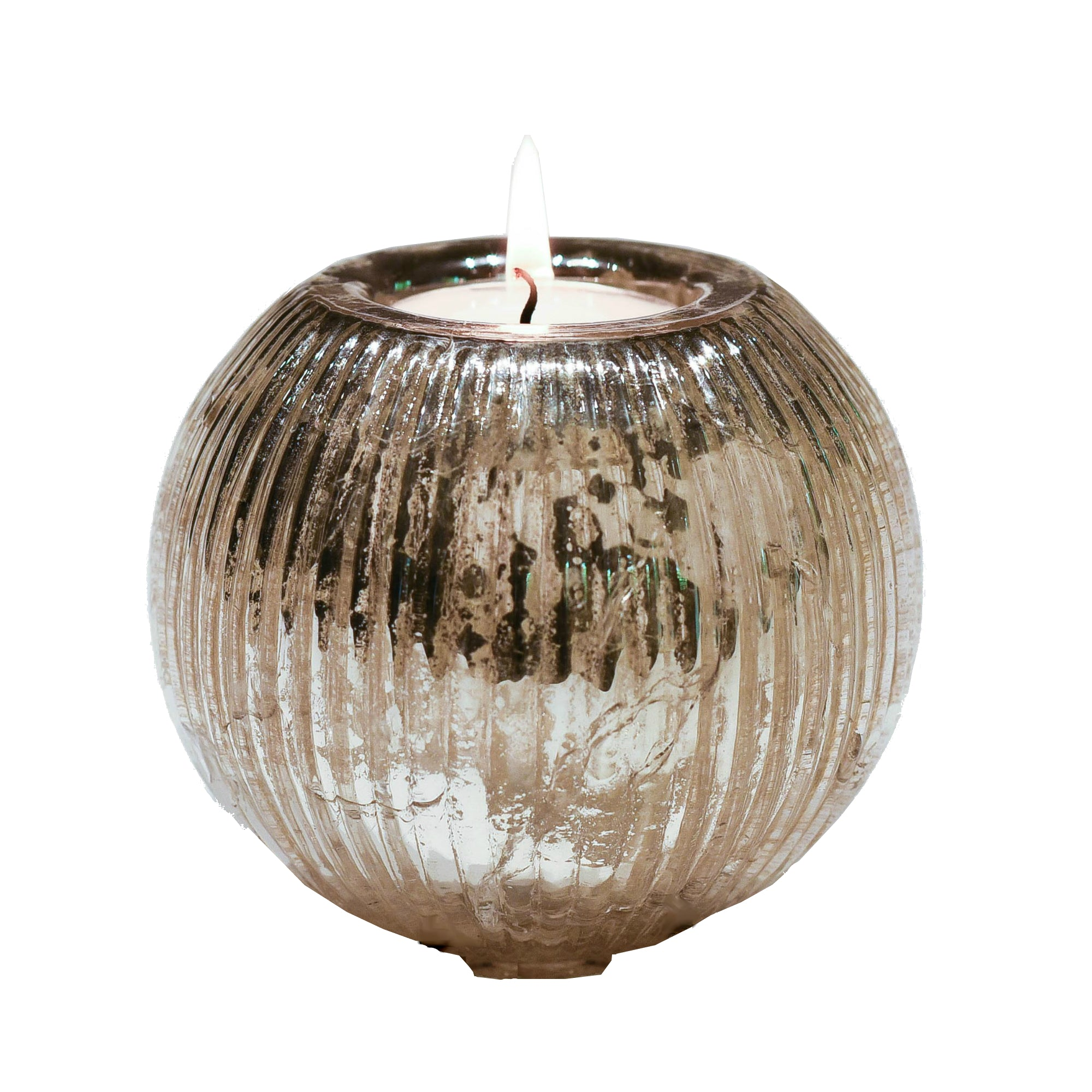 Ribbed Glass Tealight Holder in Antique Silver Finish - Two Sizes