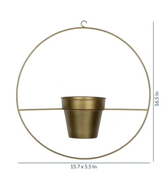 1 BHK Interiors Round Metal Hanging Planter in Gold Finish (Large)