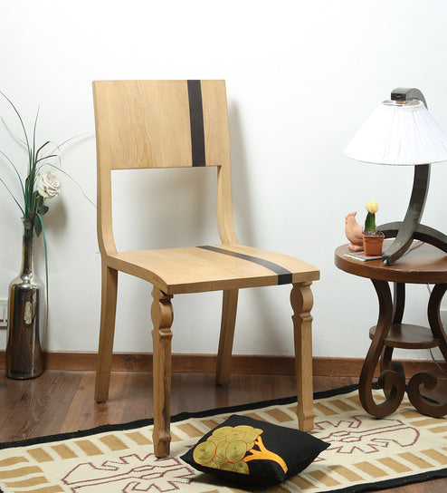 Scandinavian Striped Pine Chair - Walnut Chair