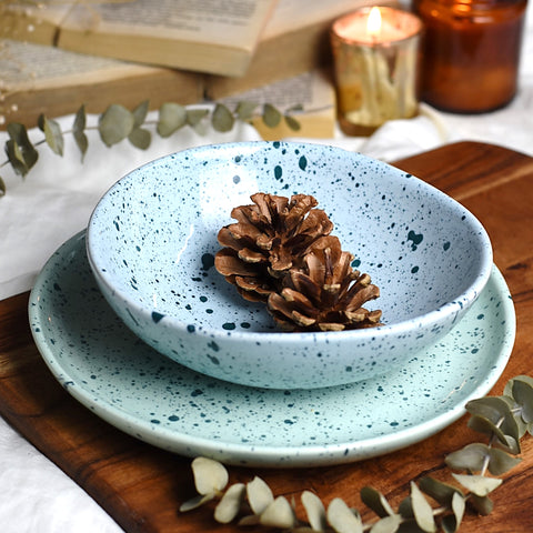 Set of 2 - Splatter Print Organic Shape Ceramic Bowl + Quarter Plate