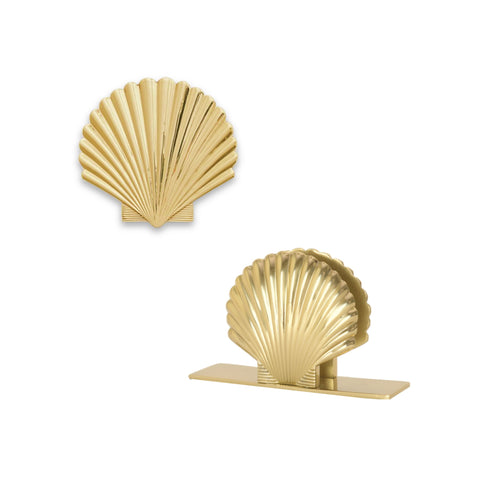 Set of 2 Art Deco Sea Shell Metal - Trivet / Dish Stand + Napkin Holder in Gold 1 BHK Interiors