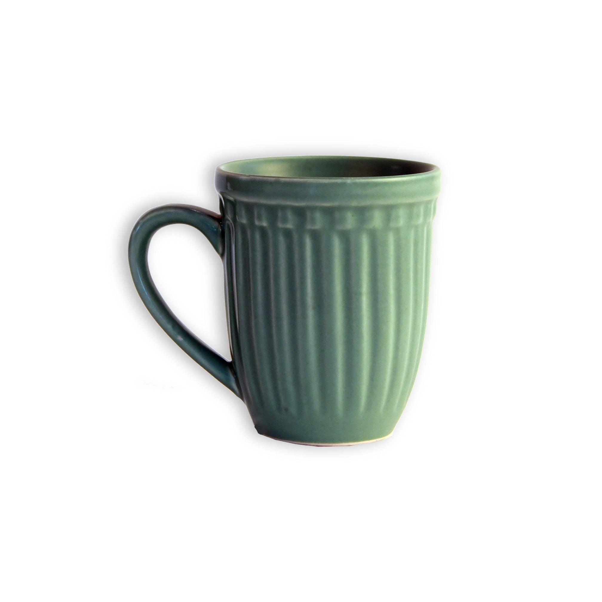 1 BHK Interiors Vintage Look Mint Green Grooved Ceramic Mug