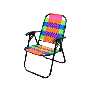 Psychedelic Metal & Plastic Cane Foldable Relaxing Chair 1 BHK Interiors