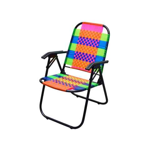 Psychedelic Metal & Plastic Cane Foldable Relaxing Chair