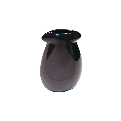 Ceramic Imported Vase in Midnight Black / Snow White