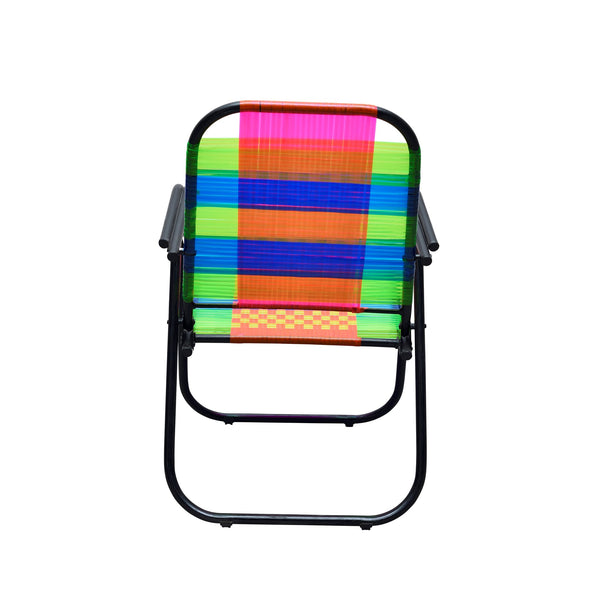 Foldable Relaxing Chair - Psychedelic Metal and Plastic Chair - Plastic Cane Foldable Relaxing Chair