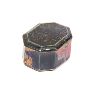 Ceramic Octagonal Treasure Box in Antique Metallic Mixed Colour