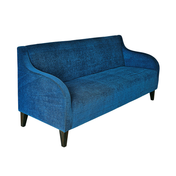 """Gaga"" Curvy Armed Three Seater Sofa in Velvet Finish with Teak Legs - 6 colour options"