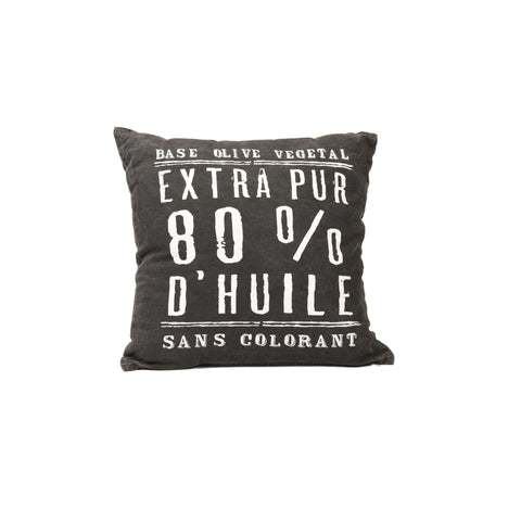 """100% Pure Olive Oil"" Distressed Cotton Cushion Cover in Black 1 BHK Interiors"