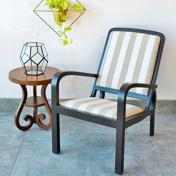Plantation Arm Chair in Teak with Striped Upholstery 1 BHK Interiors