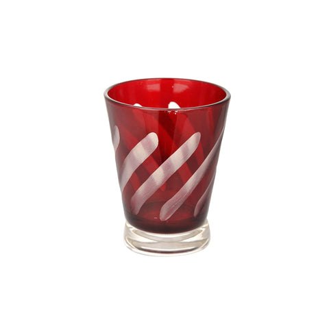 Red Diagonal Stripe Glass Tealight Candle Holder 1 BHK Interiors