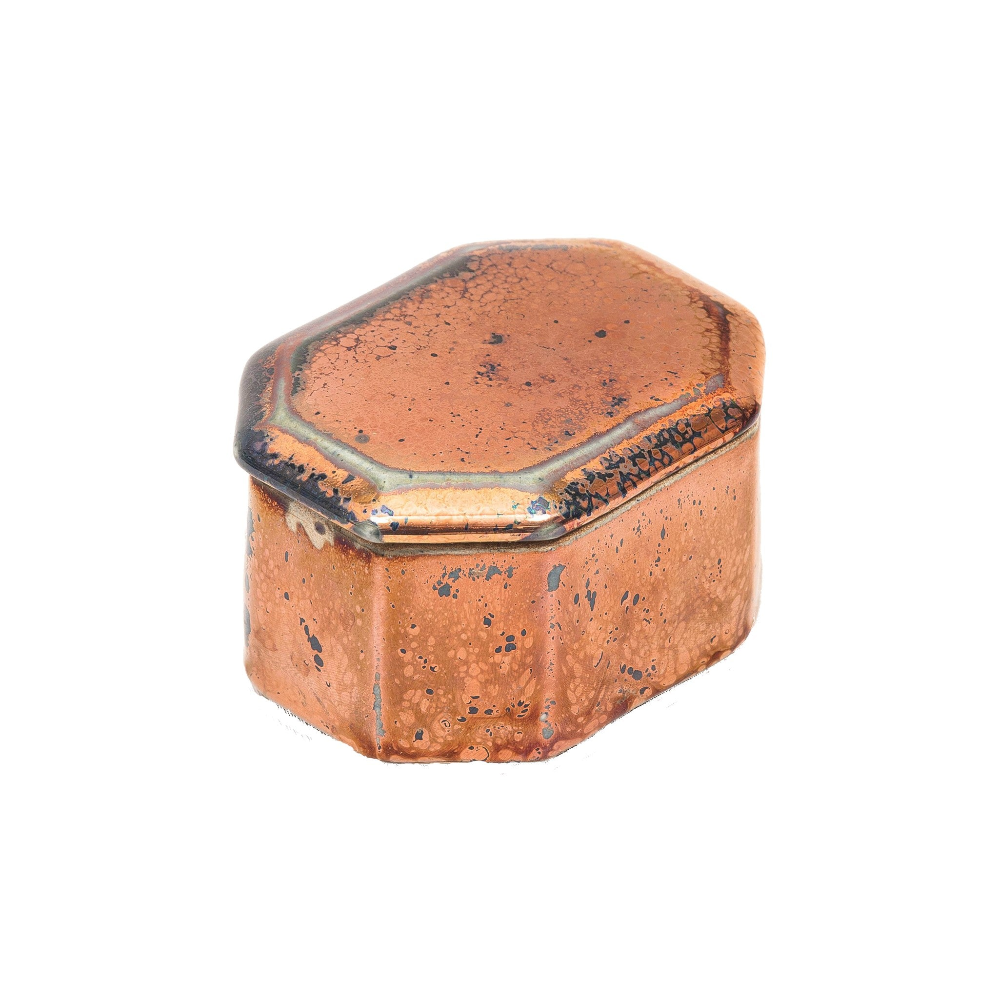 Ceramic Octagonal Treasure Box in Antique Metallic Copper Colour