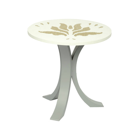 "1 BHK x Studio Kohl ""Ikat 3"" Mini Table / Wall Hanging in White & Gold 1 BHK Interiors"