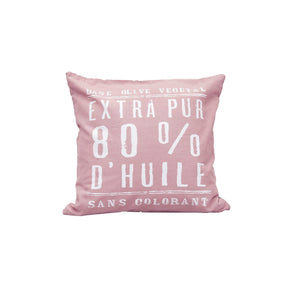 """100% Pure Olive Oil"" Pink Cotton Cushion Cover in Pink 1 BHK Interiors"