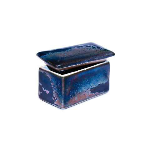 Ceramic Rectangular Treasure Box in Antique Metallic Blue Colour
