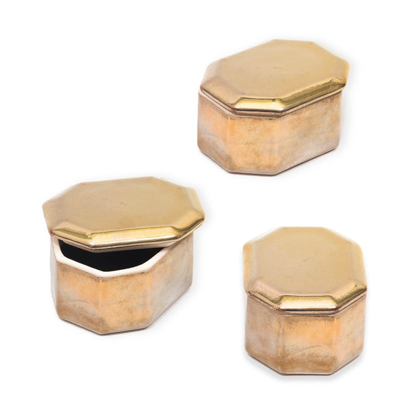 "Ceramic Metallic Octagonal ""Lustre"" Box in Antique Finish - Various Colours"