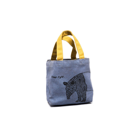 Unisex Canvas Tote Bag in Blue with Yellow Handle 1 BHK Interiors