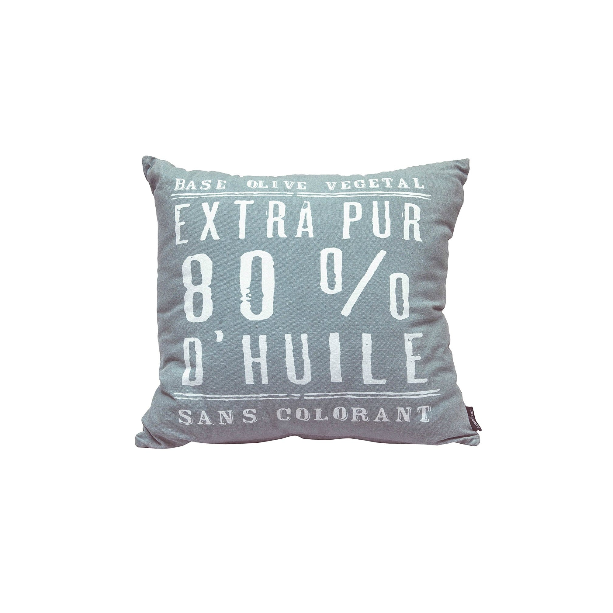 """100% Pure Olive Oil"" Teal Cotton Cushion Cover in Teal 1 BHK Interiors"