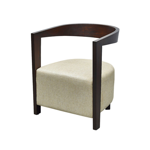 Box Cushion Arm Chair with Suspended Curved Back in Teak 1 BHK Interiors