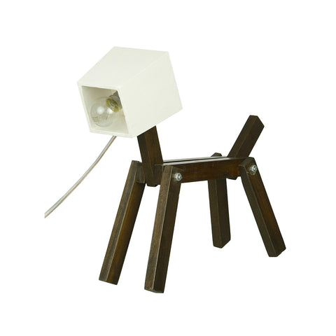 Puppy Shape Wooden Lamp - Handmade Wooden Lamp