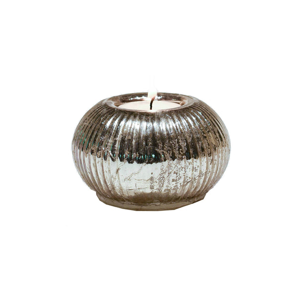 Ribbed Glass Tealight Holder - Antique Silver Finish Tealight Holder