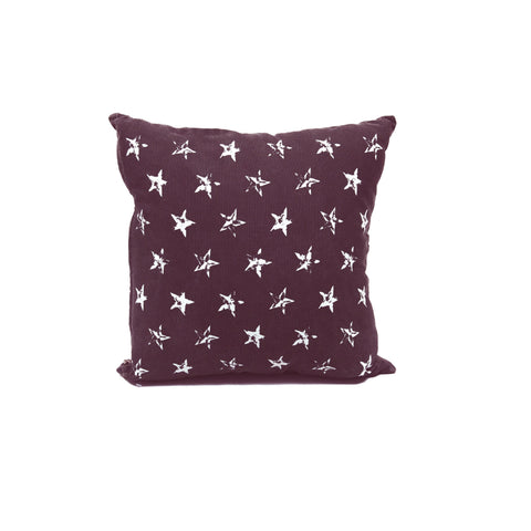Distressed Star Print Cotton Cushion Cover in Black & White 1 BHK Interiors