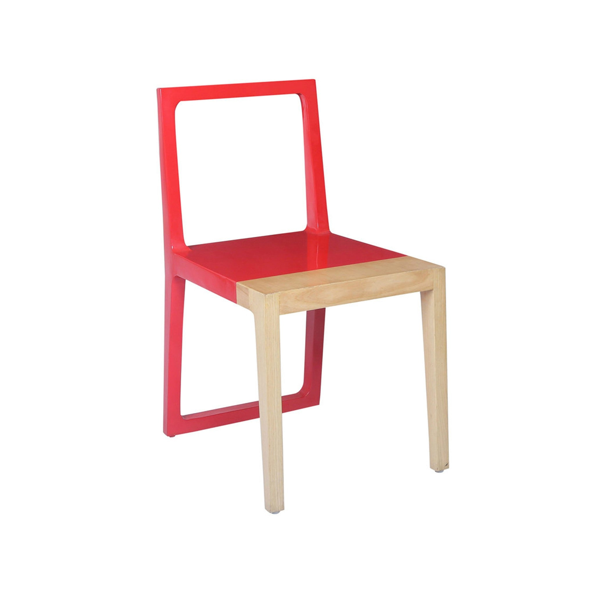 Partial Colour Scandinavian Design Teak Chair in Lacquered Red