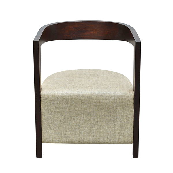 Box Cushion Arm Chair with Suspended Curved Back in Teak