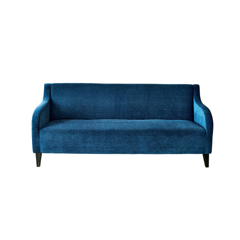 Gaga - Curvy Armed Three Seater Sofa - Royal Blue in Velvet Finish