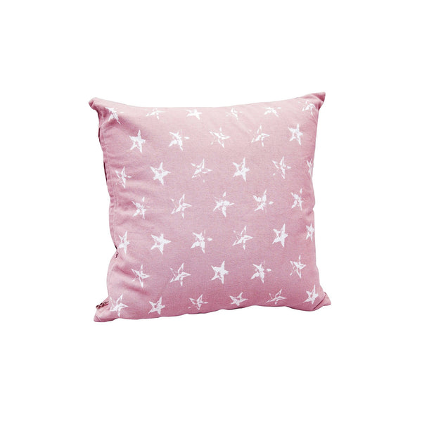 Distressed Star Print Cotton Cushion Cover in Pink 1 BHK Interiors