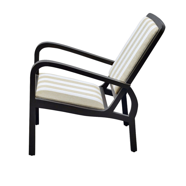 Plantation Arm Chair in Teak with Striped Upholstery