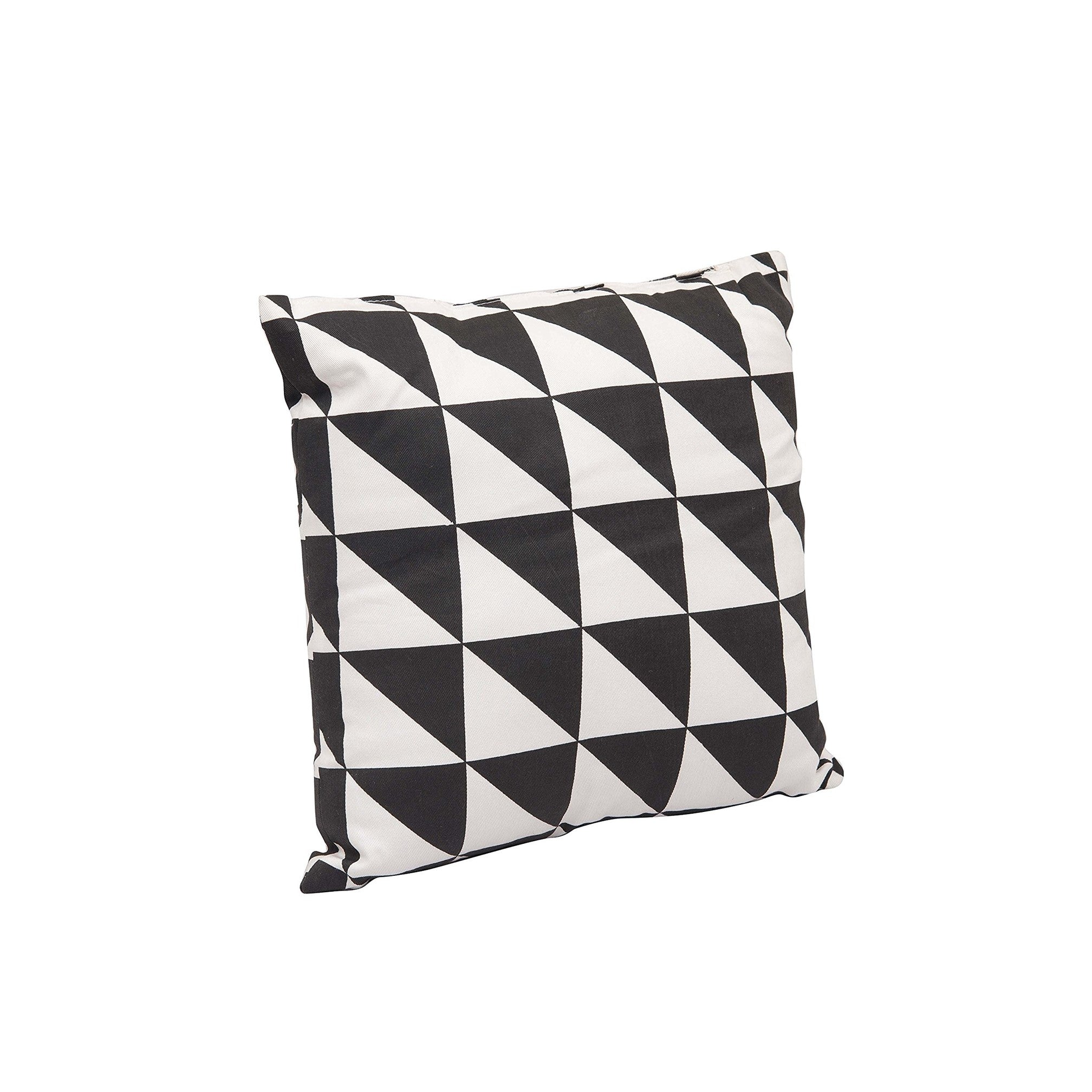 """Lateral Triangles"" Cotton Cushion with Filler in Black & White 1 BHK Interiors"