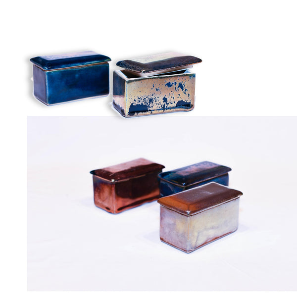 "Ceramic Metallic Rectangular ""Lustre""  Box in Antique Finish - Various Colours 1 BHK Interiors"