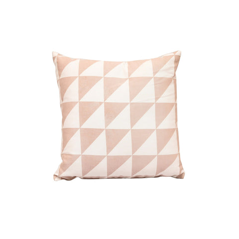 """Lateral Triangles"" Cotton Cushion with Filler in Pink & White 1 BHK Interiors"