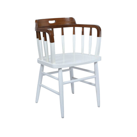 Colonial Style Paint Dipped Teak Accent Chair in White 1 BHK Interiors