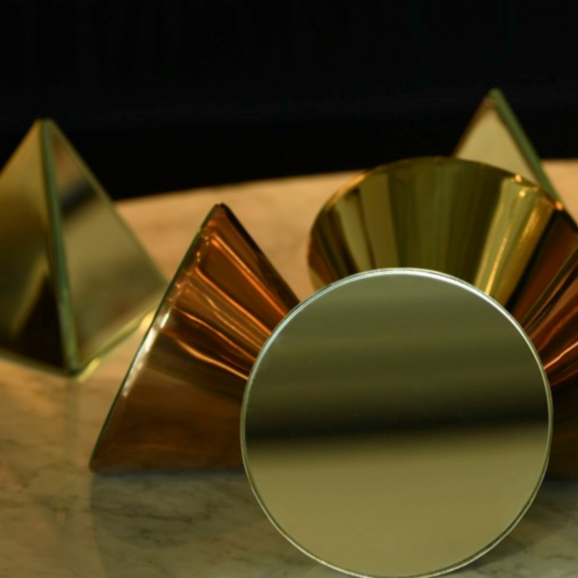 Conical Table Mirror Ornament in Gold or Rose Gold Finish 1 BHK Interiors