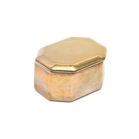 Ceramic Octagonal Treasure Box in Antique Metallic Gold Colour