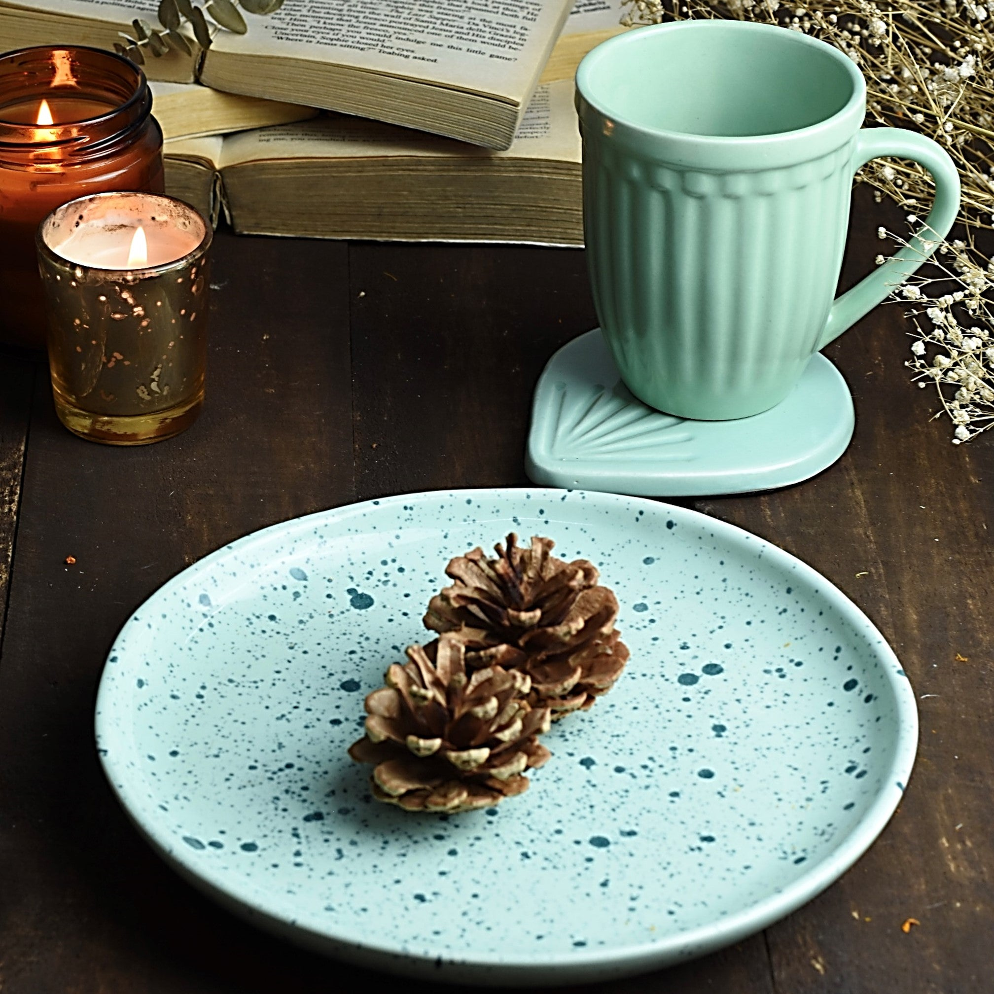 Set of 3 in Ceramic Mint Green - Salad Plate + Vintage Look Grooved Mug + Coaster 1 BHK Interiors