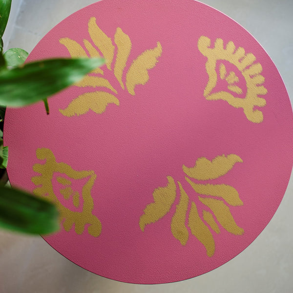Ikat 2 Mini Table - Ikat 2 Wall Hanging in Pink - Ikat 2 Wall Hanging in Gold